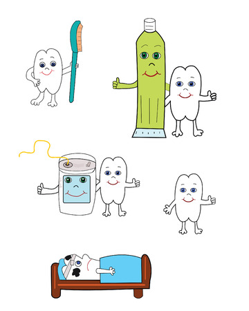 Vector illustration of happy tooth with toothbrush, toothpaste and dental floss. Vector