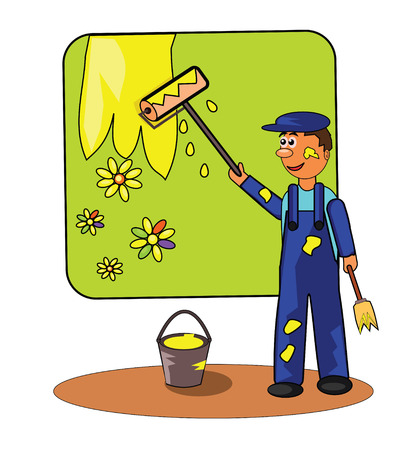 painting decorating: Vector illustration of smiling painter with roller and paintbrush. Illustration