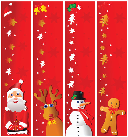 Four christmas vertical banners. Vector illustration.