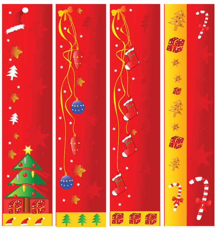 Four christmas vertical banners. Vector illustration. Vector