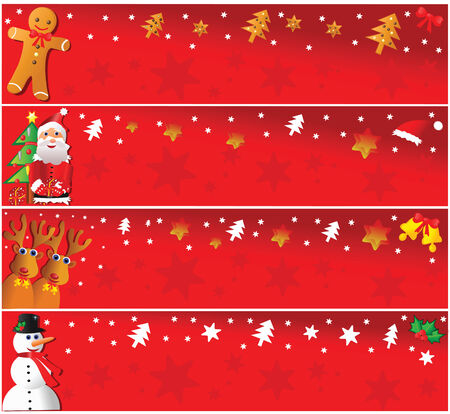 horizontal: Four christmas horizontal banners. Vector illustration. Illustration