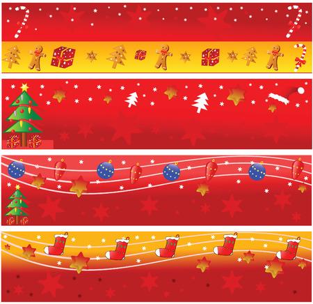 Four christmas horizontal banners. Vector illustration. Vector
