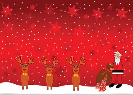 Santa Claus y fondo de renos.  Foto de archivo - 6030368