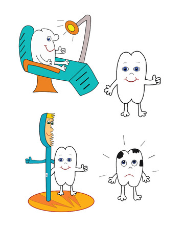 Vector illustration of happy tooth with toothbrush,  and dentist's chair. Stock Vector - 6030364