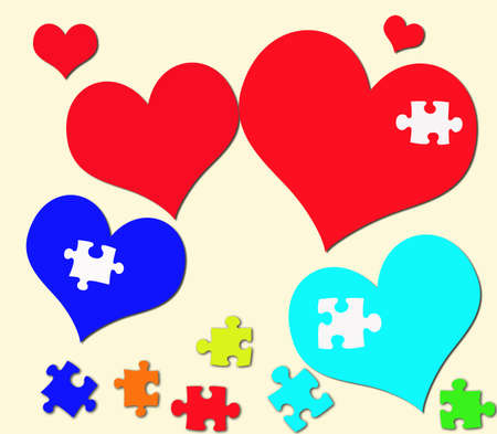 Heart colorful and puzzles photo