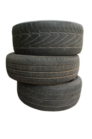 Old tire, on the white background photo