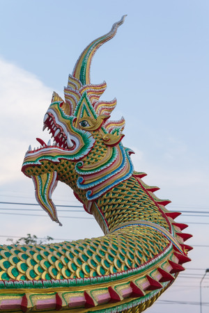 guarding: Naga snake guarding Thai temple entrance