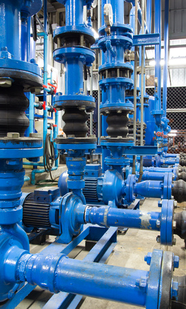 construction plant: Water pumping station, industrial interior and pipes