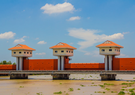 thailand flood: River dam for irrigation and flood control in Thailand Stock Photo