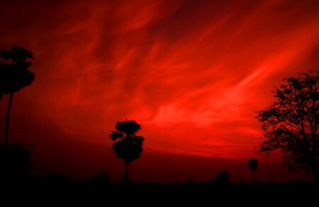 red sky: Red sky orange sunset sundown. Amazing amazing Stock Photo