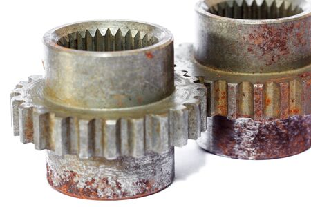 Industrial metal gears and machine parts connected
