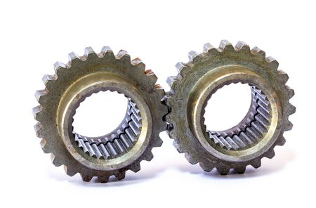 machine parts: Industrial metal gears and machine parts connected