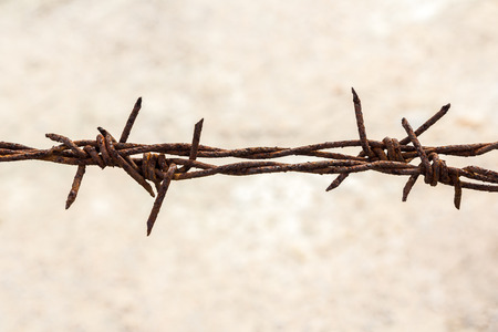 invade: Rusty barbed Stock Photo