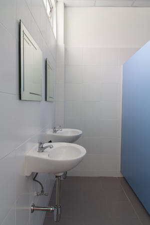handbasin: Modern design interior of stylish Toilet Stock Photo