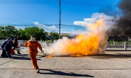 heroism: Firefighter fighting fire during training