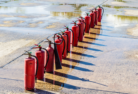 Fire extinguishers ,Firefighter fighting fire during training