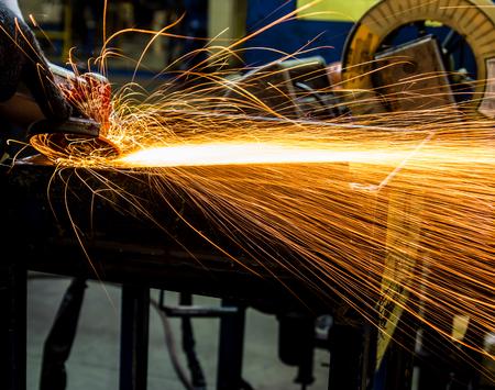 grinder: Angle grinder sparks close-up