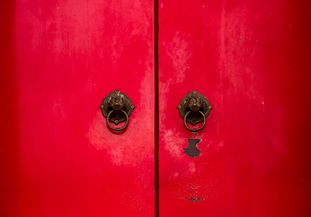 knocker: Ancient Chinese red door knocker