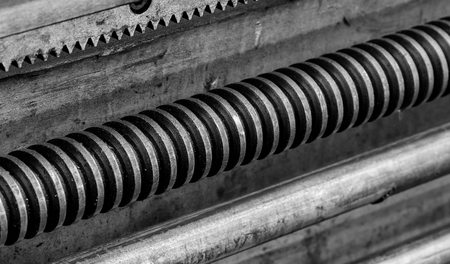 greased: Close up  screw shaft on machine, using as precision linear actuator
