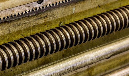 greased: Close up  screw shaft on machine