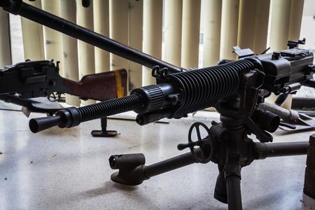 Old-fashioned war machine gun Stock Photo