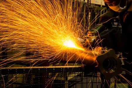 Angle grinder sparks close-up