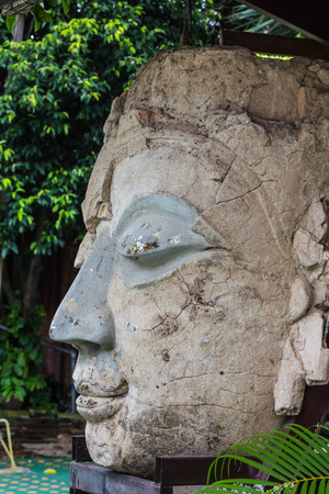 Close up front Face Buddha Statue