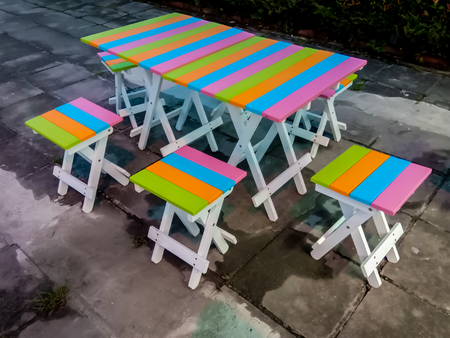 Colorful table and chairs