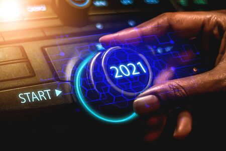 2021, twist the start button 2021, the concept of the new year two thousand twenty-one