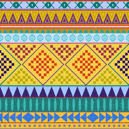 peruvian: Aztec peruvian ethnic seamless pattern, tribal pink and orange background. Bright background for invitations and greeting cards or fashion fabric Illustration