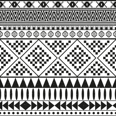 Aztec ethnic seamless pattern, tribal black and white background Illustration