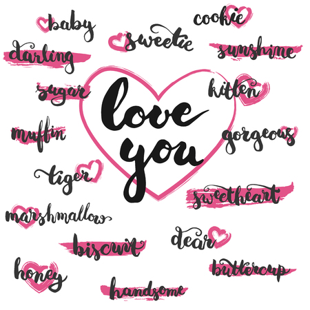 significant: Set of brushpen lettering and calligraphy affectionate nickname for your significant other on the pink brush stamp and hearts. Template for greeting card or invitations for Valentines Day.