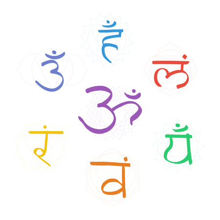 The seven color bija mantras with chakras set style. Linear character illustration of Hinduism and Buddhism. For design, associated with yoga and India. Illustration