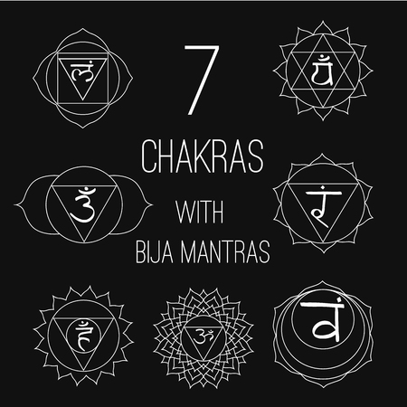 associated: The seven chakras with bija mantras set style white on the black background. Linear character illustration of Hinduism and Buddhism. For design, associated with yoga and India.