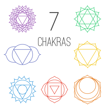 muladhara: Set of seven colorful chakras. Linear character illustration of Hinduism and Buddhism. For design, associated with yoga and India. Illustration
