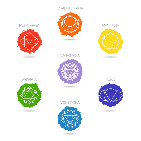 Isolated on white background illustration seven chakras set, the symbol of Hinduism, Buddhism. Hand painted texture. For design, associated with yoga and India. Stock Illustratie