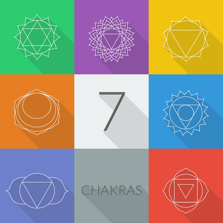 holistic health: The seven chakras vector set style flat with shadows. Linear character illustration of Hinduism and Buddhism. For design, associated with yoga and India. Illustration