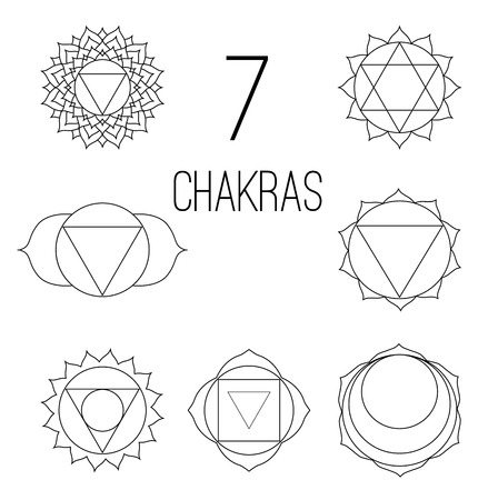 The seven chakras set style black on the white background. Linear character illustration of Hinduism and Buddhism. For design, associated with yoga and India. Illustration