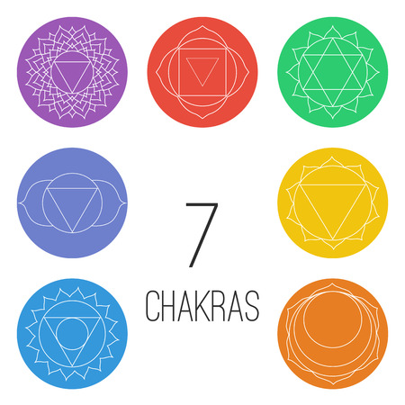 Set of seven chakras on the colorful shapes. Linear character illustration of Hinduism and Buddhism. For design, associated with yoga and India. Stock Illustratie