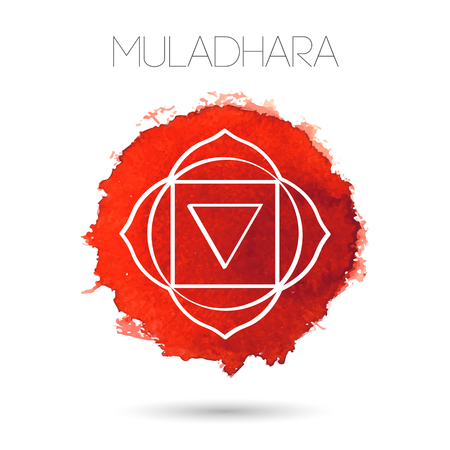 Isolated on white background illustration of one of the seven chakras - Muladhara, the symbol of Hinduism, Buddhism. Watercolor hand painted texture. For design, associated with yoga and India. Stock Illustratie
