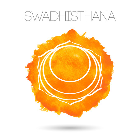 sanskrit: Vector isolated on white background illustration one of the seven chakras - Swadhisthana. Watercolor texture.