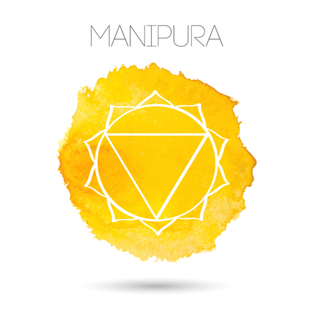 sanskrit: Vector isolated on white background illustration of one of the seven chakras - Manipura, the symbol of Hinduism, Buddhism. Watercolor hand painted texture. For design, associated with yoga and India. Illustration