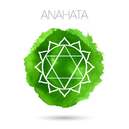Vector isolated on white background illustration of one of the seven chakras - Anahata, the symbol of Hinduism, Buddhism. Watercolor hand painted texture. For design, associated with yoga and India. Vectores