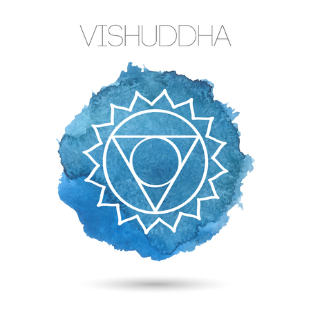 Vector isolated on white background illustration of one of the seven chakras -Vishuddha, the symbol of Hinduism, Buddhism. Watercolor hand painted texture. For design, associated with yoga and India.
