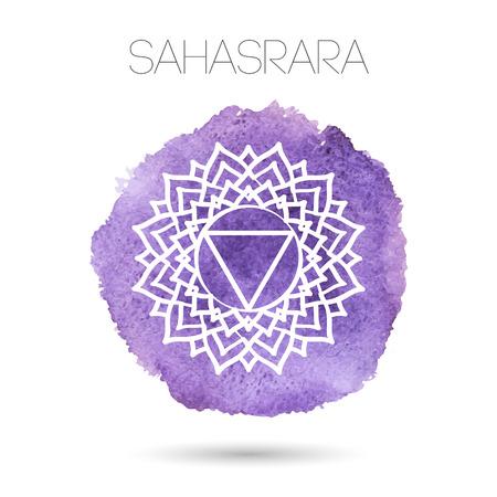 白背景イラスト - Sahasrara、七つのチャクラの 1 つのヒンドゥー教、仏教のシンボルに分離されたベクトル。水彩の手描きのテクスチャ。デザイン、