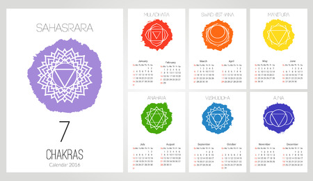 swadhisthana: Calendar 2016 design template with 7 chakras set of 12 months vector isolated on white background, the symbol of Hinduism, Buddhism. Hand painted texture. For design, associated with yoga and India. Illustration