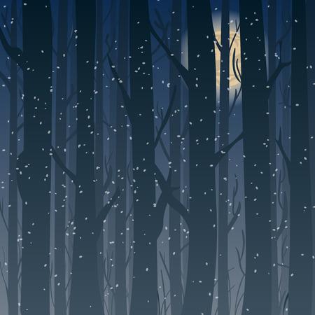 arbres silhouette: Silhouette d'une forêt d'hiver la nuit, arbres à la lune en arrière-plan. Contexte pour la carte de voeux et les invitations.