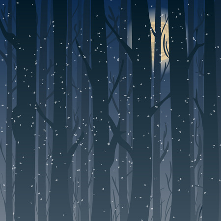 Silhouette of a winter forest at night, moonlight trees in the background. Background for greeting card and invitations.