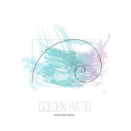 Symbol of the golden ratio tattoo isolated black on the watercolor vector background
