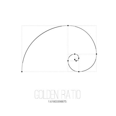nombre d or: Symbole du rapport d'or tatouage lignes noires sur le fond blanc isolé Illustration
